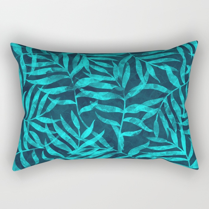 watercolor-tropical-palm-leaves-ix-rectangular-pillows
